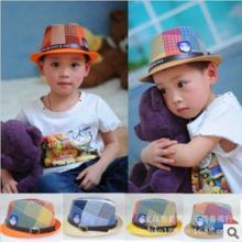 13新款春季礼帽儿童帽子草帽带皮带扣儿童潮品儿童帽子批发批发