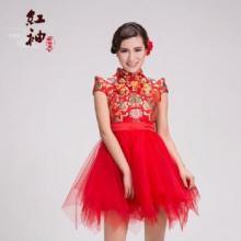 供应龙袍改良大气中式连衣裙 红色时尚短款表演服旗袍小礼服蓬蓬