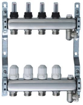供应不锈钢手轮调节式地暖分水器图片