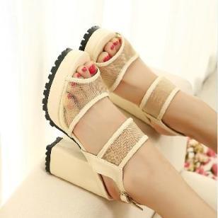 欧美风时尚公主鞋鱼嘴厚底粗跟凉鞋图片
