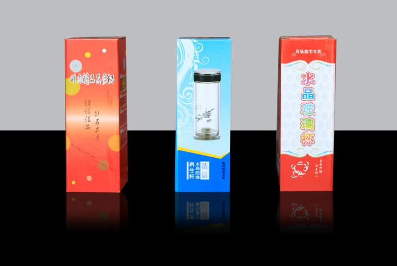 供应淄博双层玻璃杯彩盒包装盒