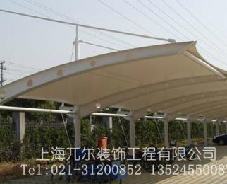 供应江苏汽车雨棚 户外停车棚 自行车雨篷 pvc遮阳篷布膜结构遮阳棚