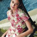 供应酷哲沙滩服女士红大叶印花衬衫