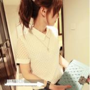 复古甜美气质小白领波点短袖蕾丝衫图片