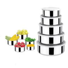 供应不锈钢五件套圆形保鲜盒保鲜碗