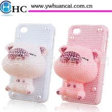供应苹果4s小猪水钻壳公仔镶钻手机套贴钻外壳iphone4