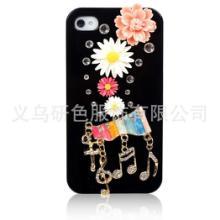 供应iphone音乐符手机壳镶钻手机套苹果4贴钻外壳