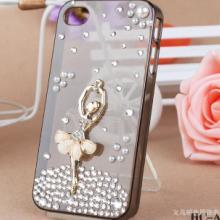 供应苹果4芭蕾女孩手机壳/iphone4水钻保护壳