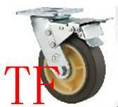 供应重型双轴灰色TPR轮,焊接支架脚轮,高弹力轮,超静音轮,高端脚轮