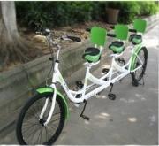 供应七彩马三人自行车观光自行车
