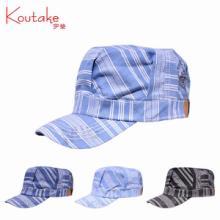 帽子宇莹正品 中性平顶帽 机车帽 流行条纹风 韩版男士 军帽