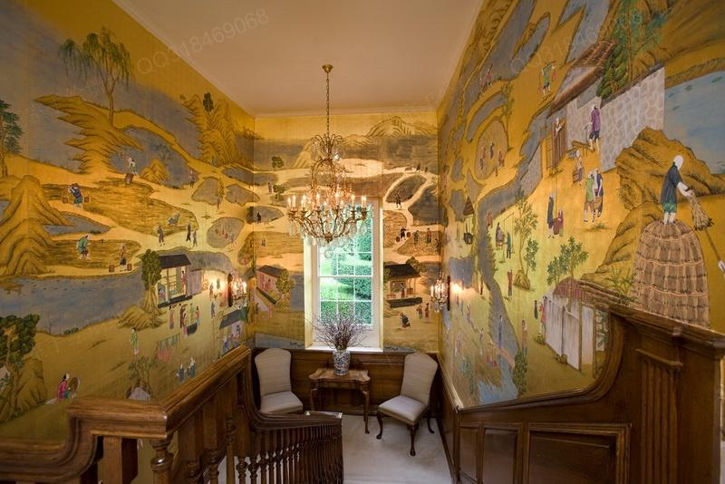 手绘丝绸墙纸下单过程1客户联系本公司选择绘画风格与材质2