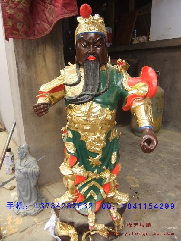横刀关公大型铜雕工艺品制作   横刀关公大型铜雕工艺品制
