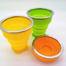 供应带钢圈折叠杯,硅胶折叠杯,200ML硅胶水杯