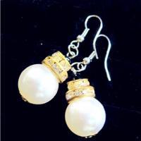 流行饰品ABS仿珍珠环形钻配18K耳环广州批发零售流行饰品ABS仿珍珠环形钻配18