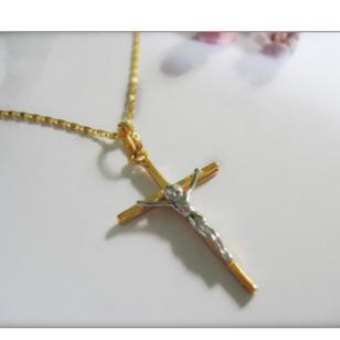 时尚欧美镀金十字架项链 18K金图片