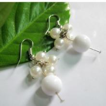 流行饰品珍珠亚克力大白珠耳坠低价 时尚ABS仿珍珠亚克力大白珠耳坠批发