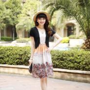 韩版雪纺定位数码印花短袖连衣裙图片