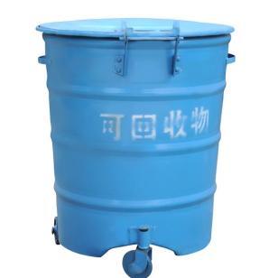 300升户外铁质圆柱形垃圾桶图片