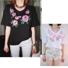 女式T恤 工厂价 韩国SHES-STORY 新款女装时尚亮片刺绣玫瑰