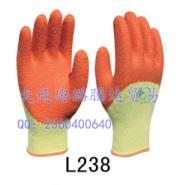 粗涤棉纱线天然乳胶半浸皱纹手套图片