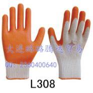 八针涤棉纱线天然乳胶光面手套图片