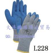 拉绒粗涤棉纱线天然乳胶皱纹手套图片