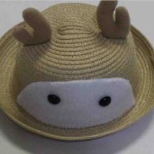 韩版宝宝小鹿角造型太阳帽定做 儿童帽子批发 夏季童帽草帽加工