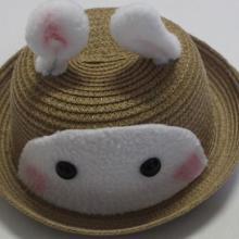 韩版宝宝小兔子造型太阳帽定做 儿童帽子批发 儿童夏季草帽加工