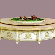 甘肃电磁炉火锅桌大理石餐桌实木桌图片