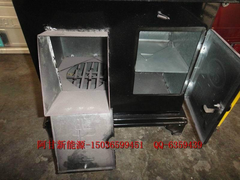 黑长方烧柴炉带烤箱柴火炉秸秆炉