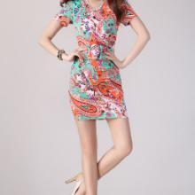 2013夏装新品韩版LO包臀职业气质印花修身短袖V领连衣裙可爱性感