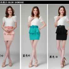 2013夏季新款女装韩版OL短袖蕾丝连衣裙修身泡泡袖荷叶边连衣裙