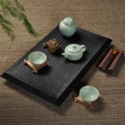 汝窑茶具套装/乌金石茶盘图片