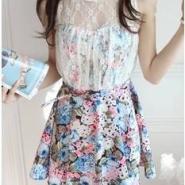 女装蕾丝碎花拼接裹胸印花连衣裙图片