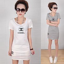 供应短袖T上衣+一步短裙白灰