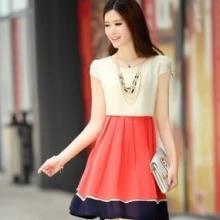 供应甜美连衣裙休闲纯色衣裙