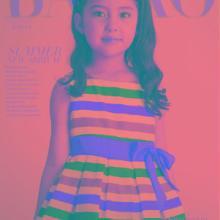 供应童装-童装韩版-夏季女童-百褶裙-大红-条纹