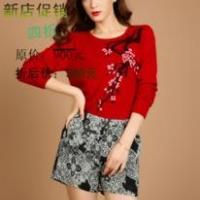 2013新款女式梅花图貂绒衫