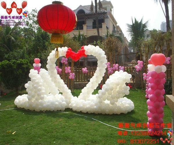 广州气球布置天鹅气球心形造型气球 广州气球