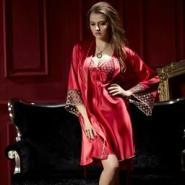真丝吊带睡裙睡袍两件套图片