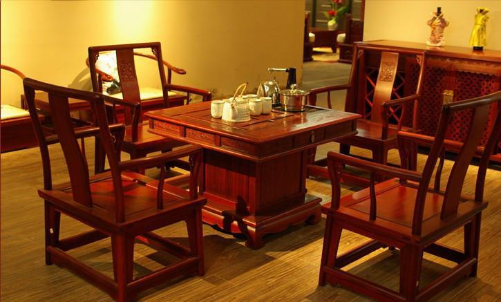 供应来宾定制原木家具茶桌图片