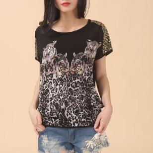 珠片老虎豹纹印花休闲T恤R-8001图片