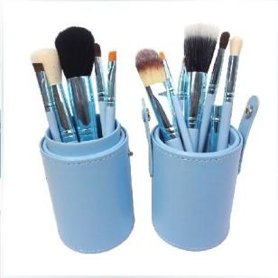 12支蓝色圆筒套刷化妆刷收纳桶图片