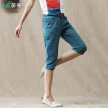 茵曼 2013夏装新款女裤直筒显瘦 七分裤 棉休闲裤 女 夏