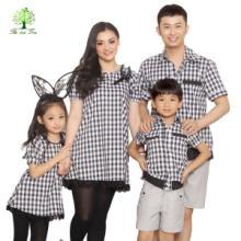 如意树亲子装全家装一家三口装母女裙装父子装衬衫英伦风格子T320