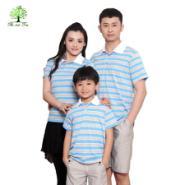 如意树亲子装夏装新款全家庭装一家三口装母女装父子装翻领条纹T353