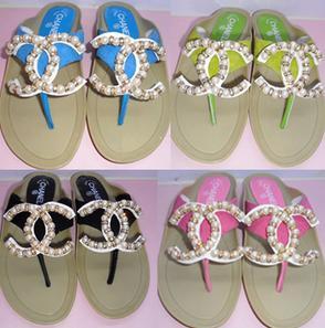 拖鞋供应商/生产供应chanel香奈儿珍珠水钻夹趾拖鞋