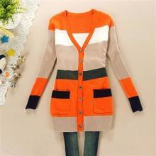 广州韩版女装批发网供应2013秋装新款女装潮流条纹多色拼接针织衫