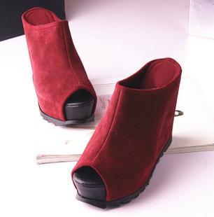 供应简约欧美风 头层牛皮磨砂皮超高坡跟鱼嘴凉鞋 防水台春夏鞋